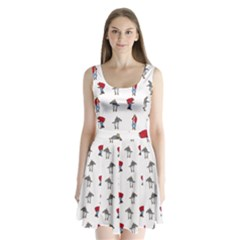 Hotline Bling White Background Split Back Mini Dress