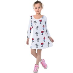 Hotline Bling White Background Kids  Long Sleeve Velvet Dress