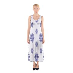 Snow Blue White Cool Sleeveless Maxi Dress