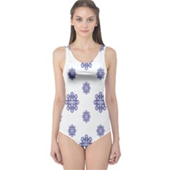 Snow Blue White Cool One Piece Swimsuit