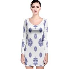 Snow Blue White Cool Long Sleeve Velvet Bodycon Dress