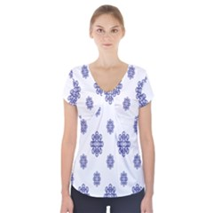 Snow Blue White Cool Short Sleeve Front Detail Top