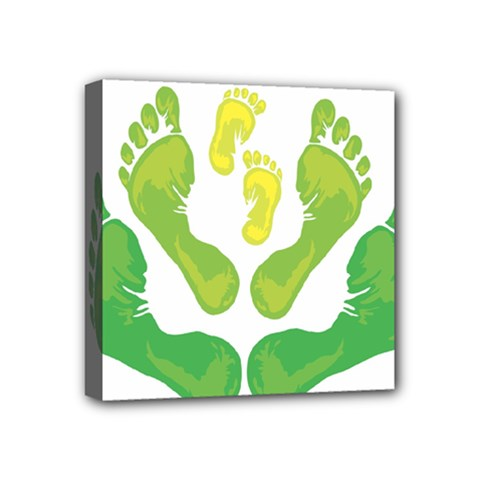 Soles Feet Green Yellow Family Mini Canvas 4  X 4