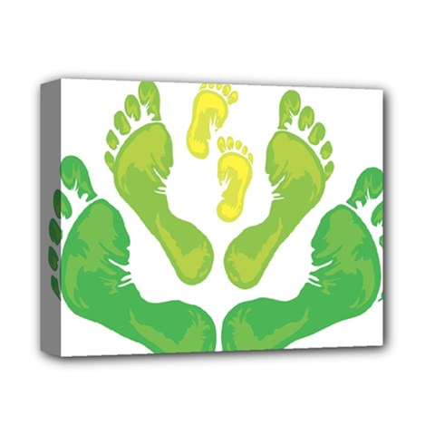 Soles Feet Green Yellow Family Deluxe Canvas 14  x 11