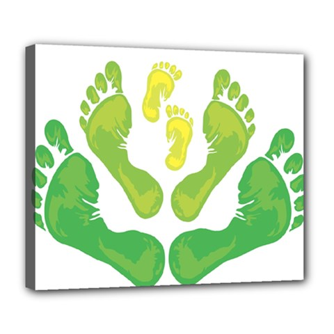 Soles Feet Green Yellow Family Deluxe Canvas 24  x 20