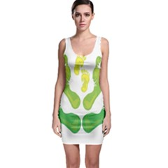 Soles Feet Green Yellow Family Sleeveless Bodycon Dress