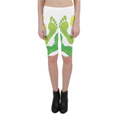 Soles Feet Green Yellow Family Cropped Leggings