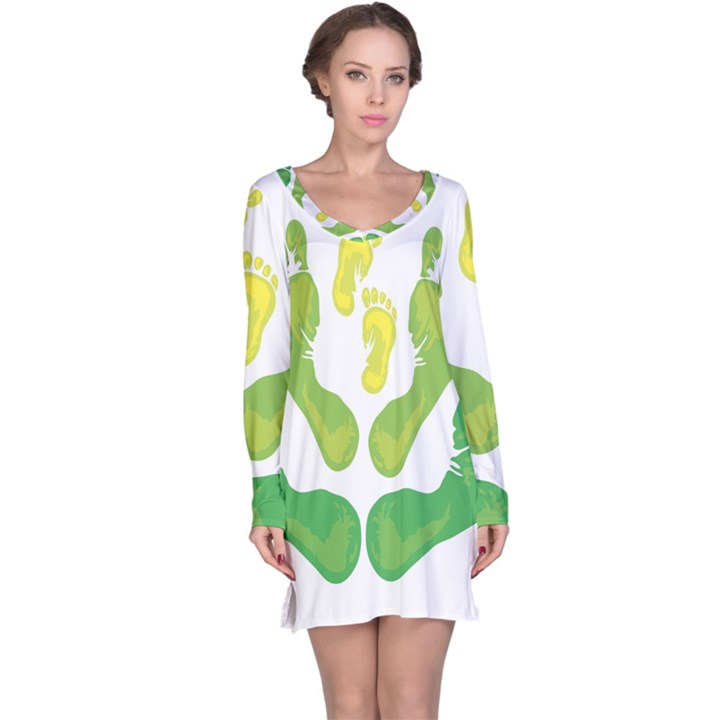 Soles Feet Green Yellow Family Long Sleeve Nightdress