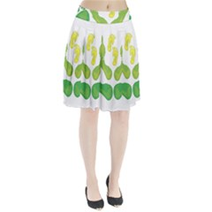 Soles Feet Green Yellow Family Pleated Skirt