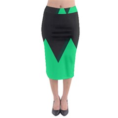 Soaring Mountains Nexus Black Green Midi Pencil Skirt