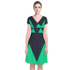 Soaring Mountains Nexus Black Green Short Sleeve Front Wrap Dress