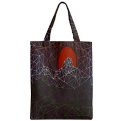 Sun Line Lighs Nets Green Orange Geometric Mountains Classic Tote Bag