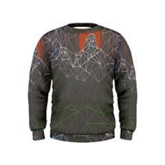 Sun Line Lighs Nets Green Orange Geometric Mountains Kids  Sweatshirt