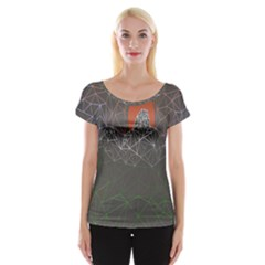 Sun Line Lighs Nets Green Orange Geometric Mountains Women s Cap Sleeve Top