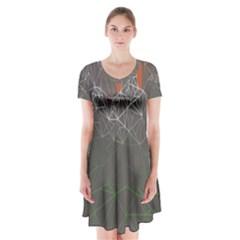 Sun Line Lighs Nets Green Orange Geometric Mountains Short Sleeve V-neck Flare Dress