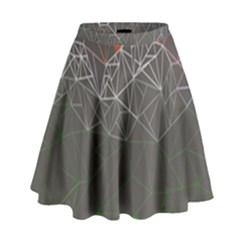 Sun Line Lighs Nets Green Orange Geometric Mountains High Waist Skirt