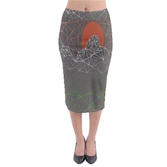 Sun Line Lighs Nets Green Orange Geometric Mountains Midi Pencil Skirt