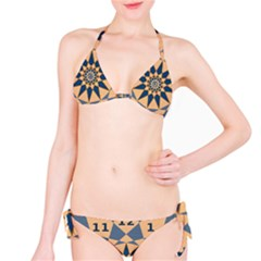 Stellated Regular Dodecagons Center Clock Face Number Star Bikini Set