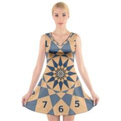 Stellated Regular Dodecagons Center Clock Face Number Star V-Neck Sleeveless Skater Dress
