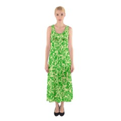 Specktre Triangle Green Sleeveless Maxi Dress