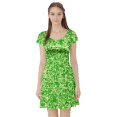 Specktre Triangle Green Short Sleeve Skater Dress