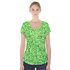 Specktre Triangle Green Short Sleeve Front Detail Top