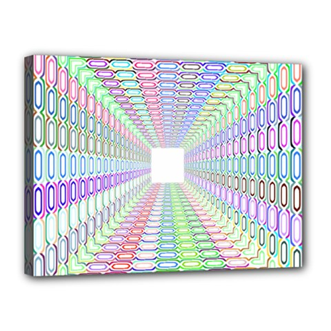 Tunnel With Bright Colors Rainbow Plaid Love Heart Triangle Canvas 16  x 12