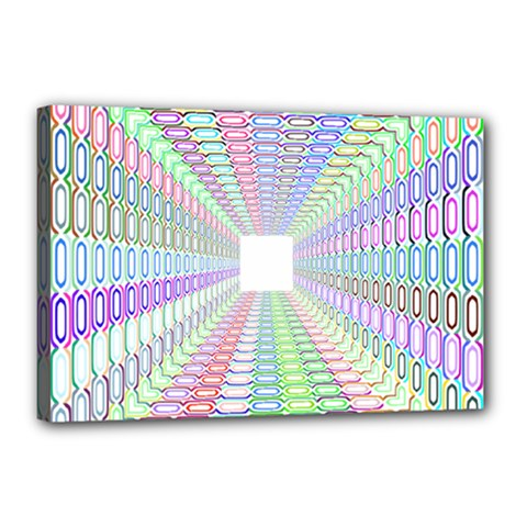 Tunnel With Bright Colors Rainbow Plaid Love Heart Triangle Canvas 18  x 12