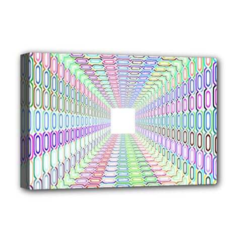Tunnel With Bright Colors Rainbow Plaid Love Heart Triangle Deluxe Canvas 18  x 12