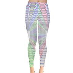Tunnel With Bright Colors Rainbow Plaid Love Heart Triangle Leggings