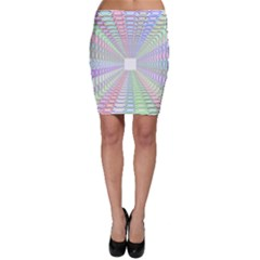 Tunnel With Bright Colors Rainbow Plaid Love Heart Triangle Bodycon Skirt