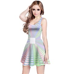 Tunnel With Bright Colors Rainbow Plaid Love Heart Triangle Reversible Sleeveless Dress