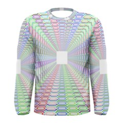 Tunnel With Bright Colors Rainbow Plaid Love Heart Triangle Men s Long Sleeve Tee