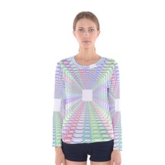 Tunnel With Bright Colors Rainbow Plaid Love Heart Triangle Women s Long Sleeve Tee