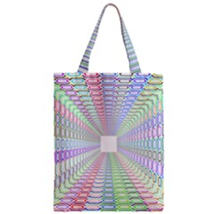 Tunnel With Bright Colors Rainbow Plaid Love Heart Triangle Zipper Classic Tote Bag