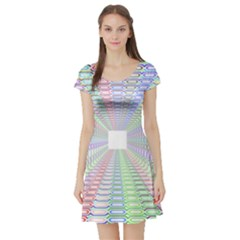 Tunnel With Bright Colors Rainbow Plaid Love Heart Triangle Short Sleeve Skater Dress