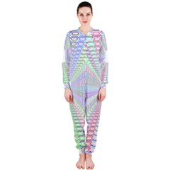 Tunnel With Bright Colors Rainbow Plaid Love Heart Triangle Onepiece Jumpsuit (ladies)