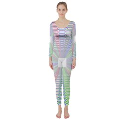 Tunnel With Bright Colors Rainbow Plaid Love Heart Triangle Long Sleeve Catsuit