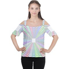 Tunnel With Bright Colors Rainbow Plaid Love Heart Triangle Women s Cutout Shoulder Tee