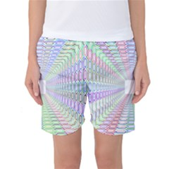 Tunnel With Bright Colors Rainbow Plaid Love Heart Triangle Women s Basketball Shorts
