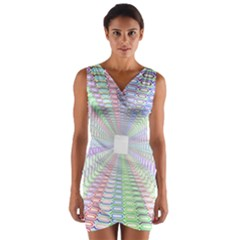 Tunnel With Bright Colors Rainbow Plaid Love Heart Triangle Wrap Front Bodycon Dress
