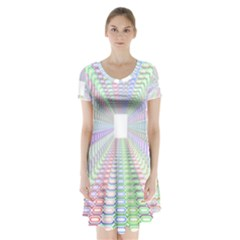 Tunnel With Bright Colors Rainbow Plaid Love Heart Triangle Short Sleeve V-neck Flare Dress