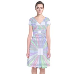 Tunnel With Bright Colors Rainbow Plaid Love Heart Triangle Short Sleeve Front Wrap Dress