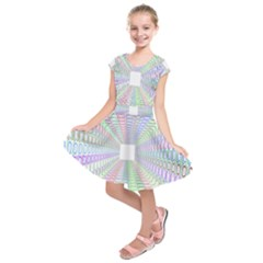 Tunnel With Bright Colors Rainbow Plaid Love Heart Triangle Kids  Short Sleeve Dress