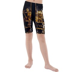 Drink Good Whiskey Kids  Mid Length Swim Shorts