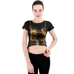 Drink Good Whiskey Crew Neck Crop Top