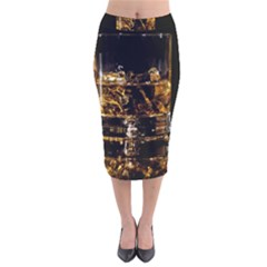 Drink Good Whiskey Velvet Midi Pencil Skirt
