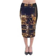 Drink Good Whiskey Velvet Midi Pencil Skirt