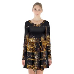 Drink Good Whiskey Long Sleeve Velvet V-neck Dress