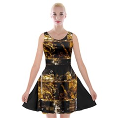 Drink Good Whiskey Velvet Skater Dress